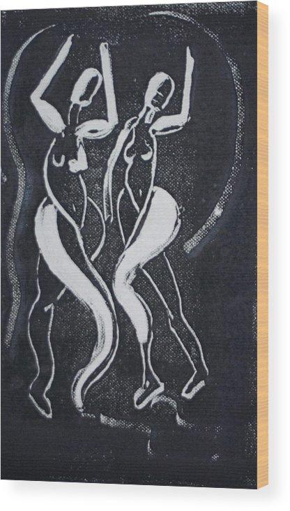 Dance Wood Print featuring the painting Dance IIi by Dan Earle