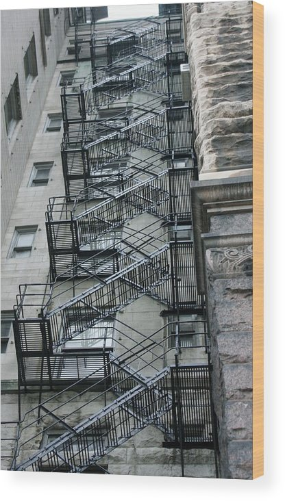 Stairs Wood Print featuring the photograph Fire Escape by Kenna Westerman