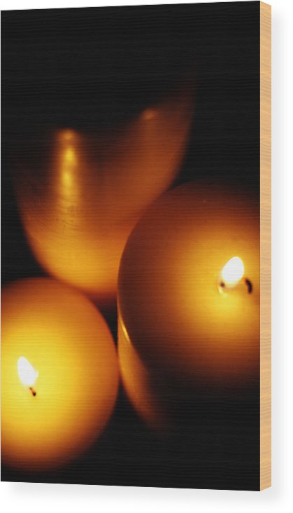 Candles Wood Print featuring the digital art Flames by Lounge Mode Productions Art