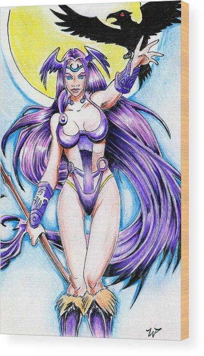 Goddess Morrigan Wood Print featuring the drawing Goddess Morrigan by William P