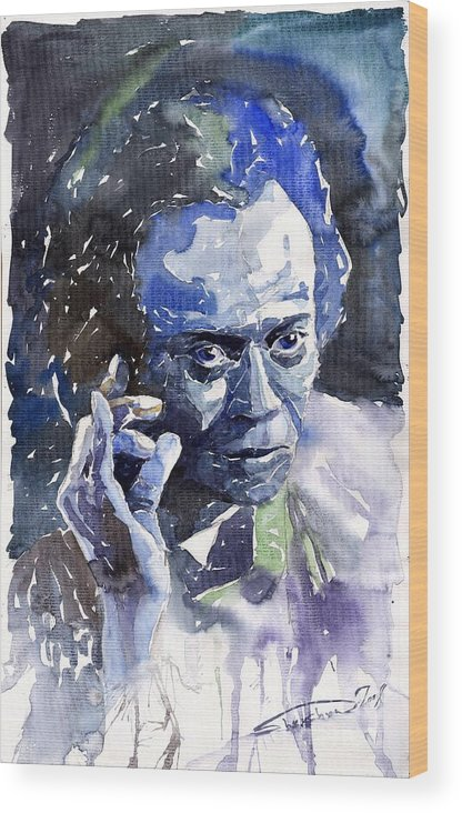 Jazz Wood Print featuring the painting Jazz Miles Davis 11 Blue by Yuriy Shevchuk