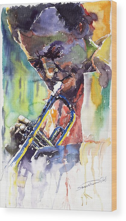 Jazz Miles Davis Music Musiciant Trumpeter Portret Wood Print featuring the painting Jazz Miles Davis 9 Blue by Yuriy Shevchuk