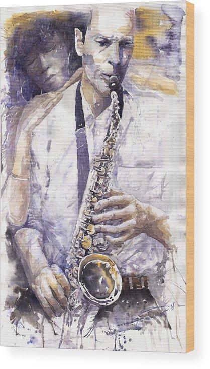 Jazz Wood Print featuring the painting Jazz Muza Saxophon by Yuriy Shevchuk
