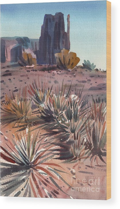Watercolor Wood Print featuring the painting Left Mitten And Yucca by Donald Maier