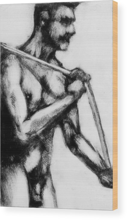 Male Wood Print featuring the painting Monotype Series 31 by John Clum