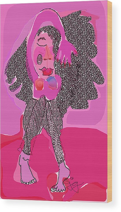 Pink Wood Print featuring the digital art Pink Lady by Joyce Goldin
