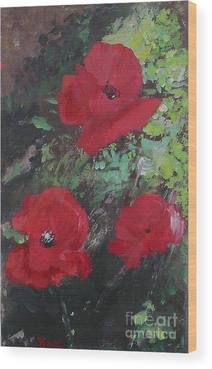Red Wood Print featuring the painting Poppies by Lizzy Forrester