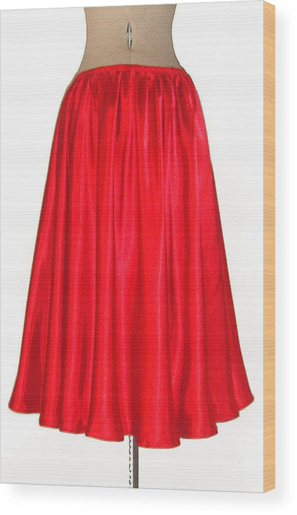 Red Wood Print featuring the photograph Red Satin Mid-calf Skirt. Ameynra Simple Line 2013 by Sofia Metal Queen
