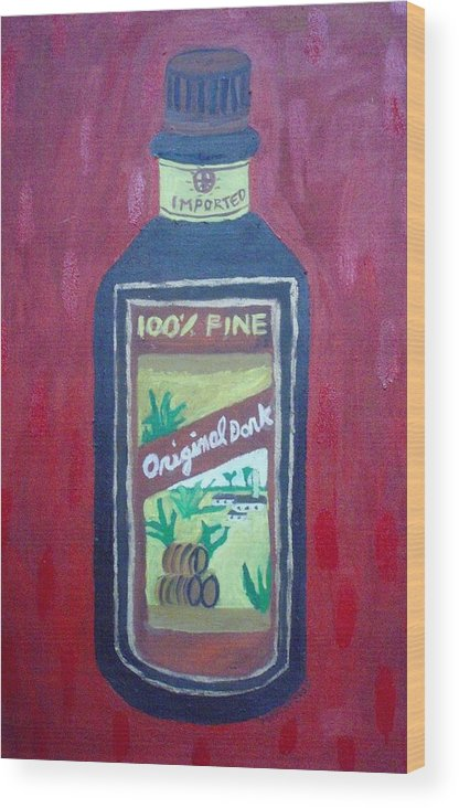 Oil On Canvas Wood Print featuring the painting Rum by Patrice Tullai