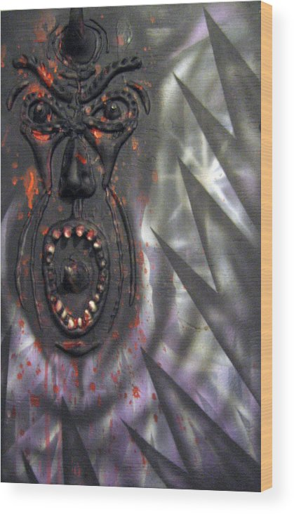 Relief Wood Print featuring the painting Screaming by Leigh Odom