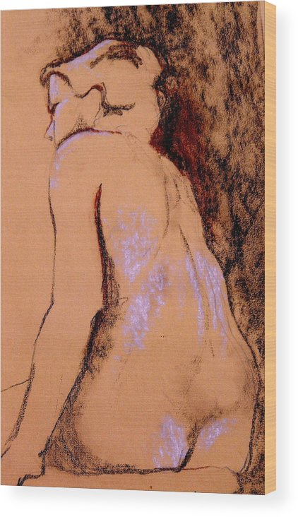 Nude Wood Print featuring the drawing Seated Nude by Ruth Mabee