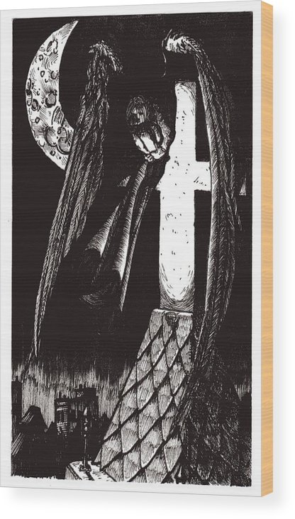 Angel Wood Print featuring the drawing Solemn Vigil by Tobey Anderson