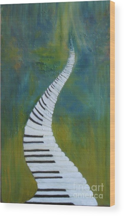 Impressionism Wood Print featuring the painting Stairway To Heaven by Rachel Wollach Asherovitz