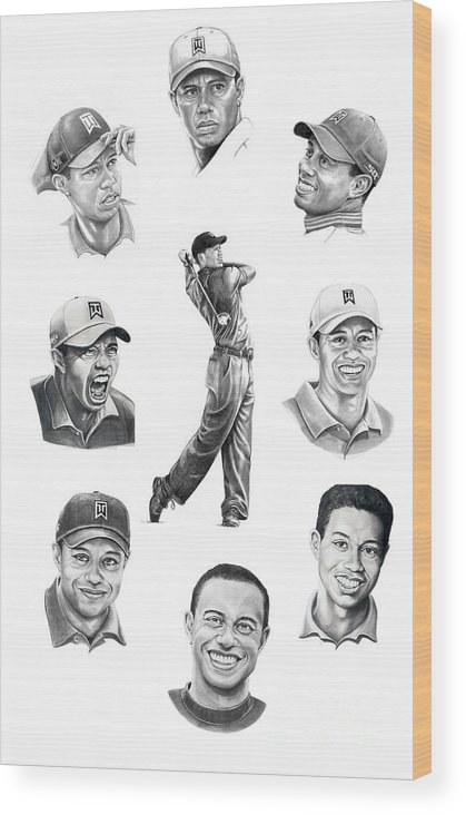 Tiger Woods Wood Print featuring the drawing Tiger Woods-murphy Elliott by Murphy Elliott