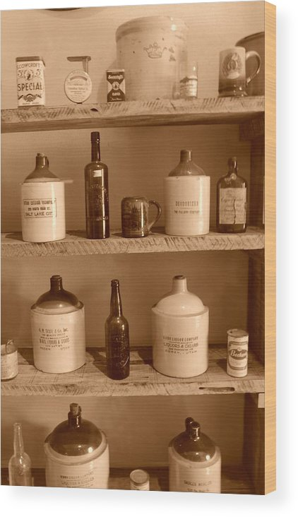 Sepia Photographs Wood Print featuring the photograph Vintage Jugs by Dennis Hammer