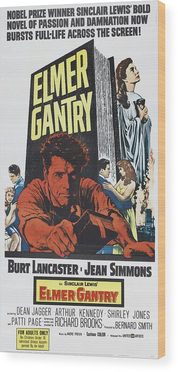 1960 Movies Wood Print featuring the photograph Elmer Gantry, Us Poster Art, Center by Everett