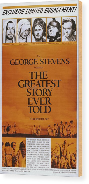 1960s Movies Wood Print featuring the photograph The Greatest Story Every Told, Us by Everett