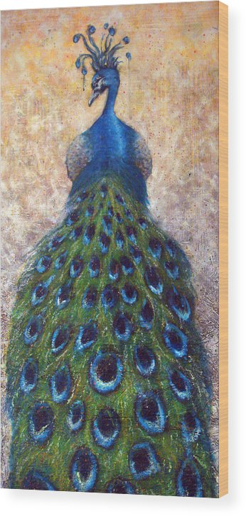 Peacocks Wood Print featuring the painting At The Gates by Mark M Mellon