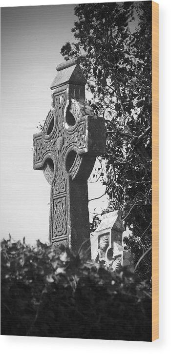 Celtic Wood Print featuring the photograph Celtic Cross At Fuerty Cemetery Roscommon Ireland by Teresa Mucha