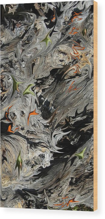 Abstract Wood Print featuring the digital art Experiment In Turmoil by Stephanie H Johnson