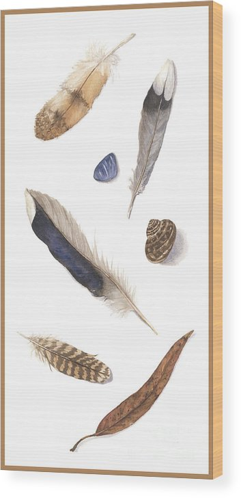 Feathers Wood Print featuring the painting Found Treasures by Lucy Arnold