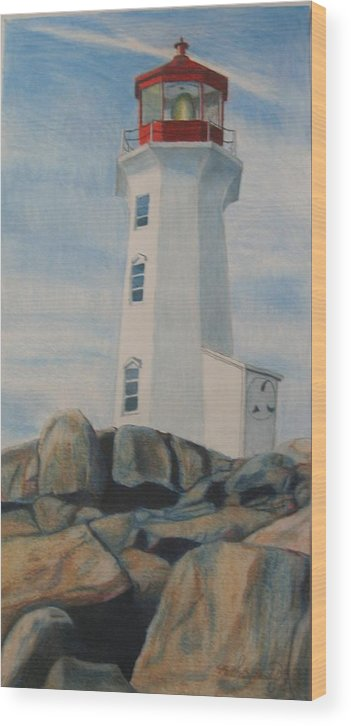 Landscape Wood Print featuring the drawing Peggys Cove Lighthouse by Matthew Handy