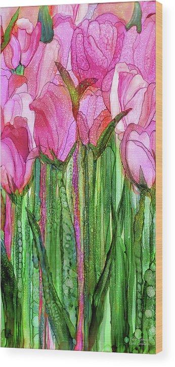 Carol Cavalaris Wood Print featuring the mixed media Tulip Bloomies 2 - Pink by Carol Cavalaris