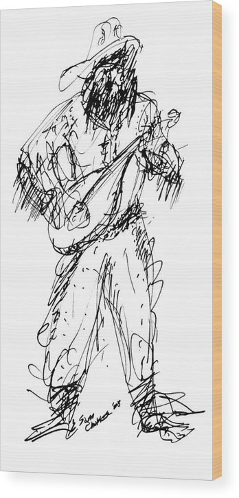 Guitarist Wood Print featuring the drawing Western Guitarist by Sam Chinkes