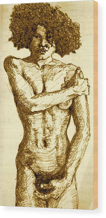 Female Nude Wood Print featuring the painting Young Woman by Dan Earle