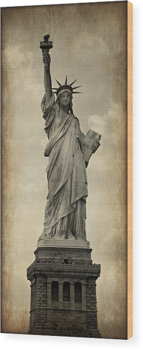 Statue Wood Print featuring the photograph Lady Liberty No 11 by Stephen Stookey