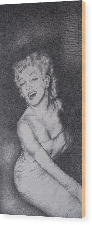 Black And White Art Wood Print featuring the drawing Marilyn by Stephen J DiRienzo