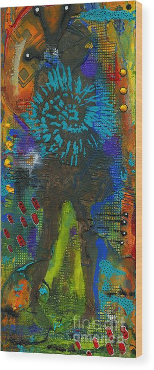 Abstract Mixed Media Wood Print featuring the painting My Soul Is Free At Last by Angela L Walker