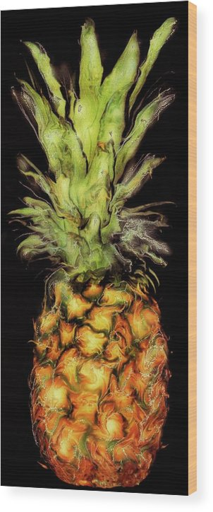 Paul Tokarski Wood Print featuring the photograph Golden Pineapple by Paul Tokarski