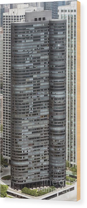 Harbor Point Condominiums Wood Print featuring the photograph Harbor Point Condominium In Chicago by David Oppenheimer