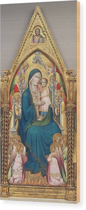 Madonna And Child Wood Print featuring the painting Madonna And Child Enthroned With Twelve Angels by Agnolo Gaddi