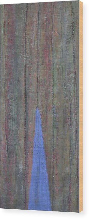 Tree Trunk Blue Abstract Nature Wood Print featuring the painting Trunk by Sally Van Driest