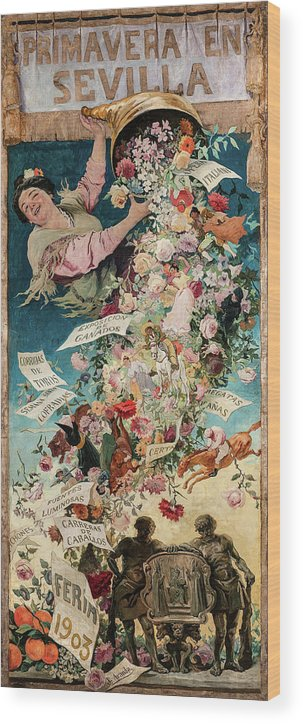 Jose Jimenez Aranda Wood Print featuring the painting Spring In Seville, 1903 by Jose Jimenez Aranda