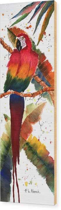 Macaw Wood Print featuring the painting Macaw Feathers by Patricia Novack