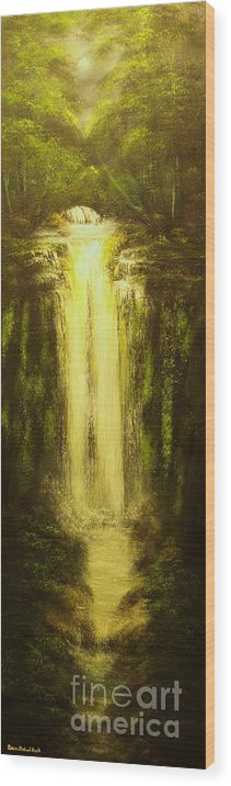 Waterfall Wood Print featuring the painting High Falls-original Sold-buy Giclee Print Nr 37 Of Limited Edition Of 40 Prints  by Eddie Michael Beck