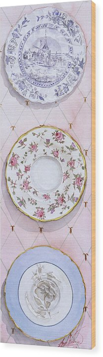 Plates Wood Print featuring the painting Plate Collection I by Leah Wiedemer