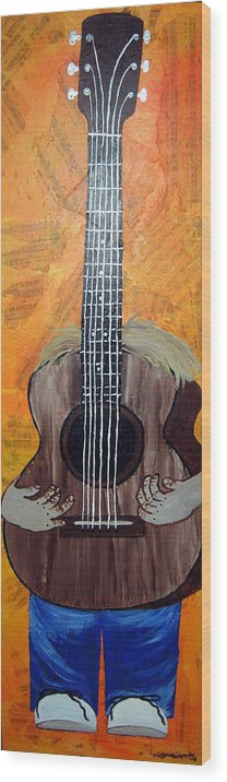 Guitar Wood Print featuring the mixed media Play For Me by Sharon Supplee