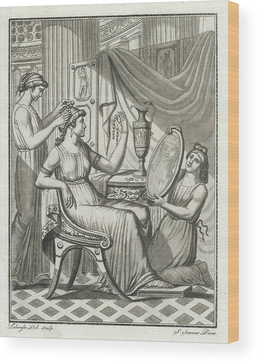 Roman Wood Print featuring the drawing A Roman Lady Has Her Hair Done by Mary Evans Picture Library