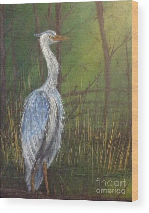 Blue Heron Crane Wood Print featuring the painting Down In The Bijou by Karen Hamby
