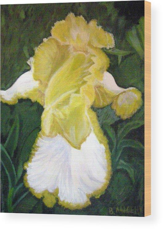 Angel Wood Print featuring the painting Yellow Iris by Vera Lysenko
