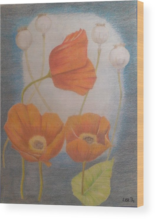 Orange Flowers Wood Print featuring the mixed media Floating Flowers by Alicia Lindley