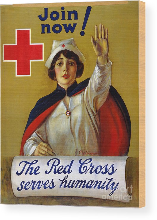 1917 Wood Print featuring the photograph Red Cross Poster, C1917 by Granger