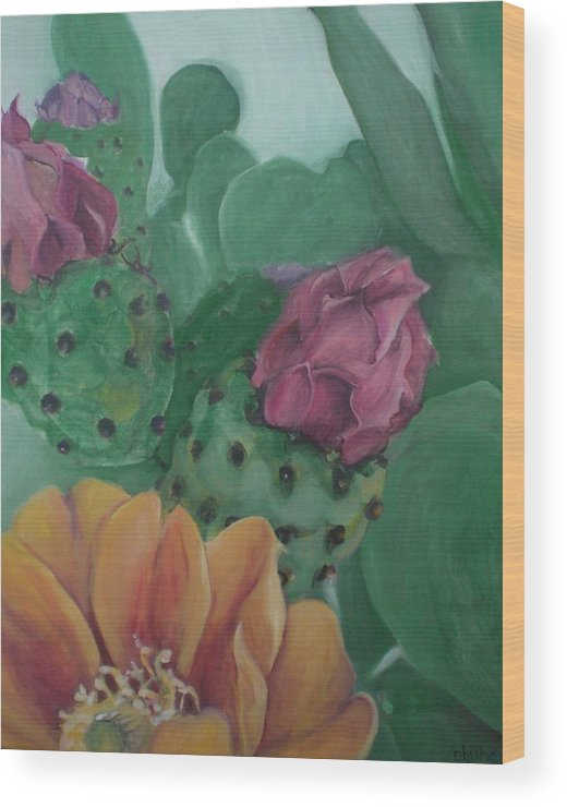 Yellow Wood Print featuring the painting Yellow Cactus Blossom by Aleksandra Buha
