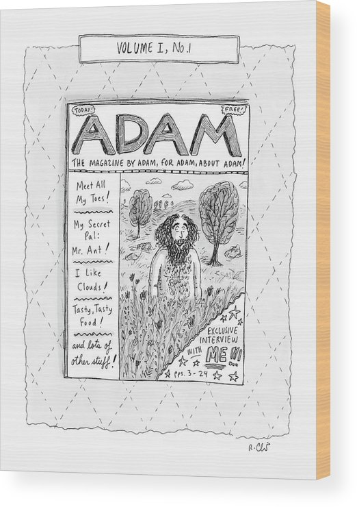 Adam Wood Print featuring the drawing New Yorker April 23rd, 2007 by Roz Chast