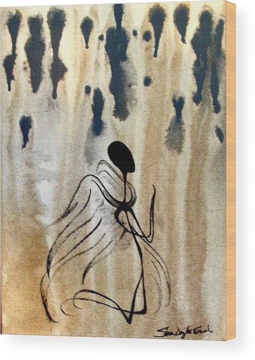 Acrylic Wood Print featuring the painting Angel In The Rain by Sheen Douglas Eisele