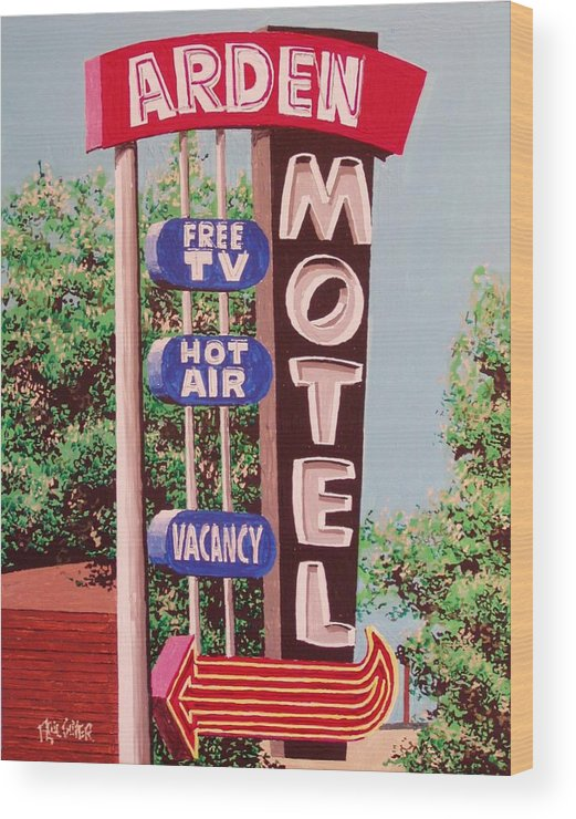 Sacramento Wood Print featuring the painting Arden Motel by Paul Guyer